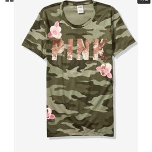 Victoria's Secret Bling camo tee flowers Small